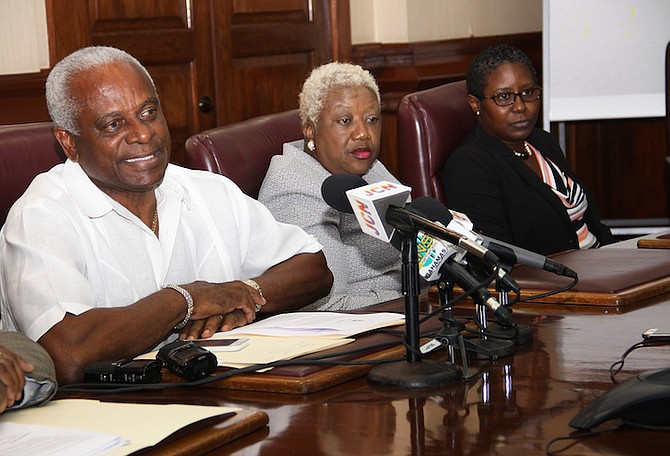 Pictured during a press conference on Monday at the Blue Hill Road head office of the National Insurance Board  are Jason Moxey, Operations Consultant; V. Theresa Burrows, Acting Director, NIB; and Tami Culmer-Francis, Assistant Director, Family Islands Operations. Photo: Patrick Hanna/BIS