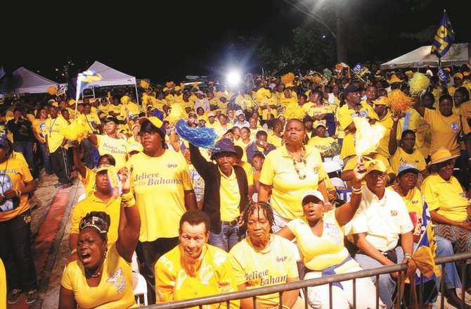Hundreds attended Wednesday's PLP rally.