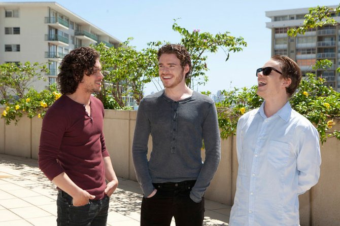 Game of Thrones stars Kit Harington (Jon Snow), Richard Madden (Robb Stark) and Alfie Allen (Theon Greyjoy) pictured in Miami.