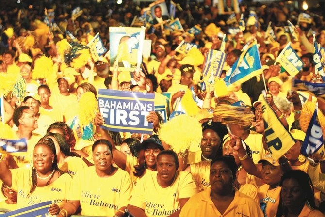 PLP supporters at a recent rally during the campaign.