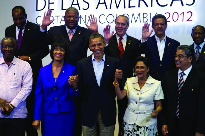 DEPUTY PRIME MINISTER Brent Symonette at the Summit of the Americas last week alongside other world leaders including US President Barack Obama. Front row, from left to right- Barbados' Prime Minister Freundel Jerome Stuart, Jamaica's Prime Minister Portia Simpson Miller, President Obama, Trinidad and Tobago's Prime Minister Kamla Persad-Bissessar, Belize's Deputy Prime Minister Gaspar Vega. Back row, from left- Dominica's Prime Minister Roosevelt Skerrit, Antigua and Barbuda's Prime Minister Winston Baldwin, Mr Symonette, Dominican Republic's President Leonel Fernandez and Saint Kitts and Nevis's Prime Minister Denzil Llewellyn Douglas.