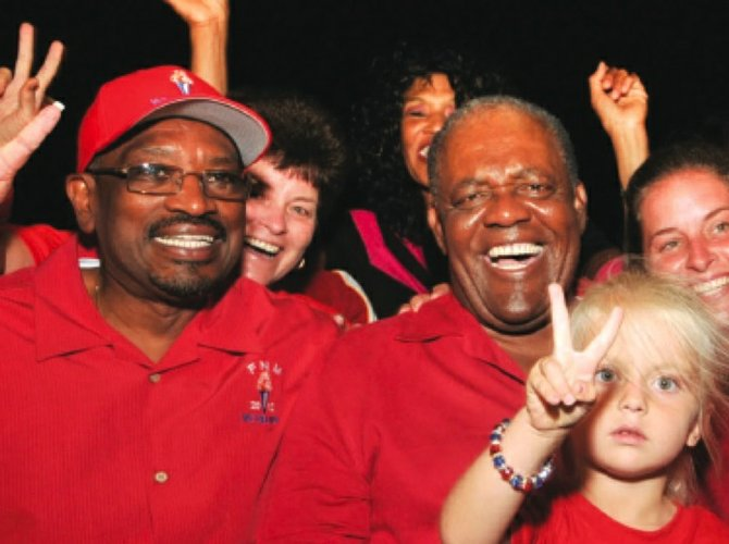 Former Prime Minister Hubert Ingraham with FNM leader Dr Hubert Minnis and supporters in North Abaco.