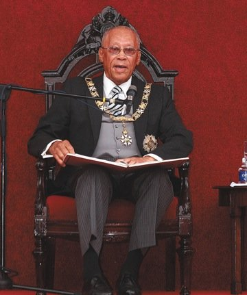 Governor General Sir Arthur Foulkes reads the Speech from the Throne.