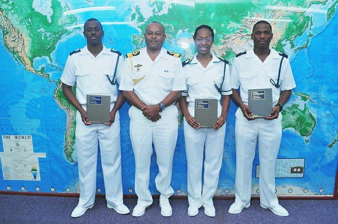 (L-R) Midshipman Ladario Brown, RBDF Commodore Roderick Bowe, Midshipman Danielle Morley, Midshipman Lavan Paul
