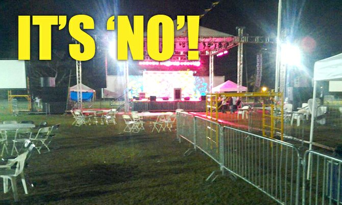 A deserted Clifford Park Monday night, the proposed site for a 'Yes' victory rally. Photo/Joey Butler