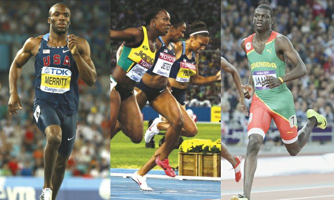 LaShawn Merritt, Veronica Campbell-Brown and Kirani James