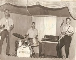From L to R. Lorin Cartwright, Peter Catalyn & Erskine Knowles. The Lisbon Club, Bay Street, Nassau, Bahamas - 1965