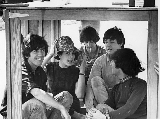 The Beatles with Help! leading lady Eleanor Bron.