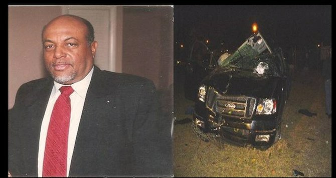 This image, provided by Regina Smith, shows her father and the accident scene. She is campaigning for a change in Bahamian driving laws