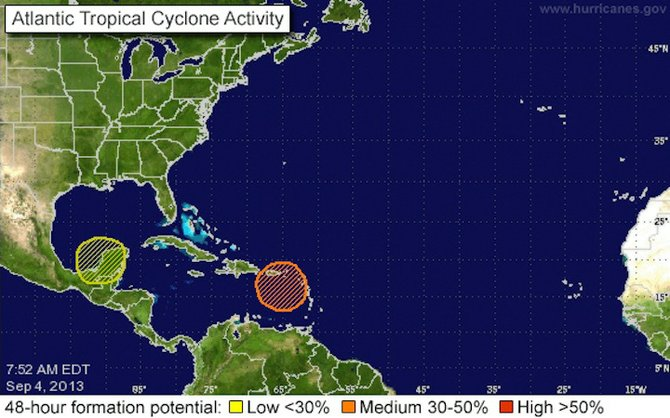 Graphic from the National Hurricane Center shows the two systems