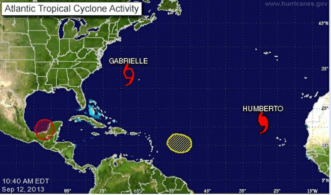 Graphic from the National Hurricane Center shows the weather systems.