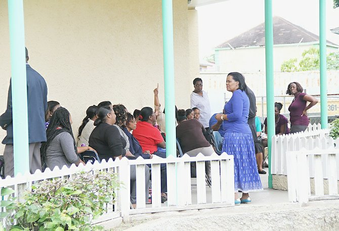 Teachers staging a sit-out earlier in the week at Stephen Dillet Primary School.