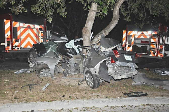 The wreckage of a car following a traffic fatality in Grand Bahama.