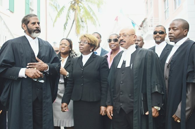 MURRIO Ducille, front row, second from right, and fellow lawyers outside court yesterday.