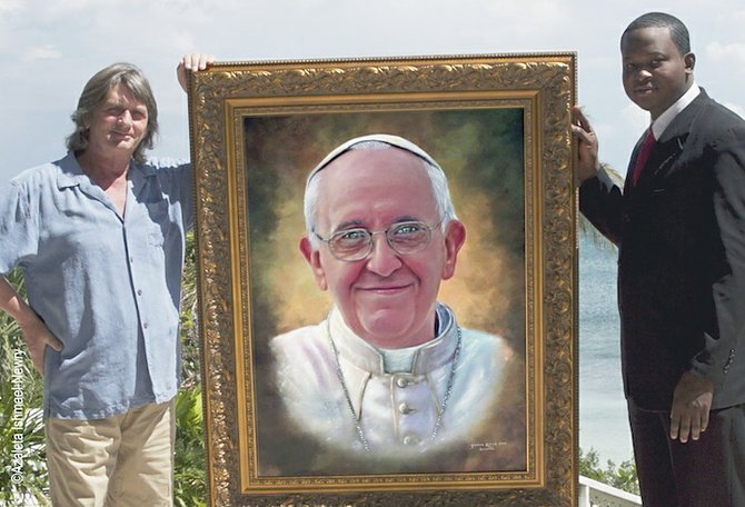 Mike Oldfield with artist Jamaal Rolle and his painting of Pope Francis. (Photo by Azaleta Ishmael-Newry)