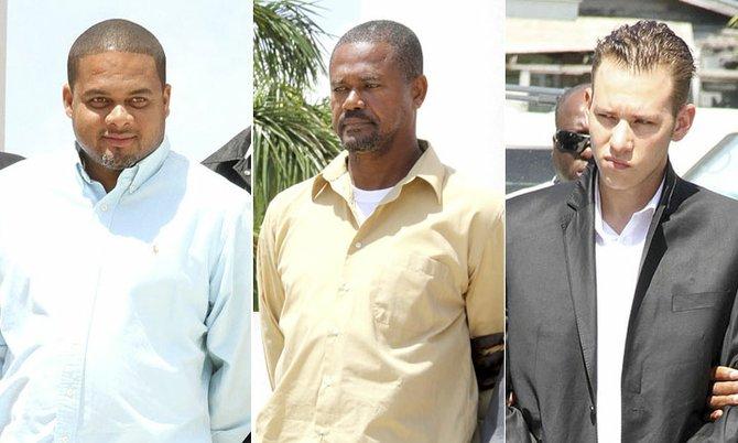 Darryl Bartlett, Murrilo Sullivan and Michael Webster outside of court.