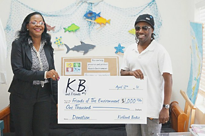 Bahamian recording artist KB donates proceeds from his CD, KB and Friends, Volume #4, to support the environmental education and conservation work of Friends of the Environment in Abaco. Wynsome Ferguson, the new President of the Board of Friends of the Environment accepted the cheque on their behalf and thanked KB for setting the bar high for entertainers to support the environment that supports all Bahamians.