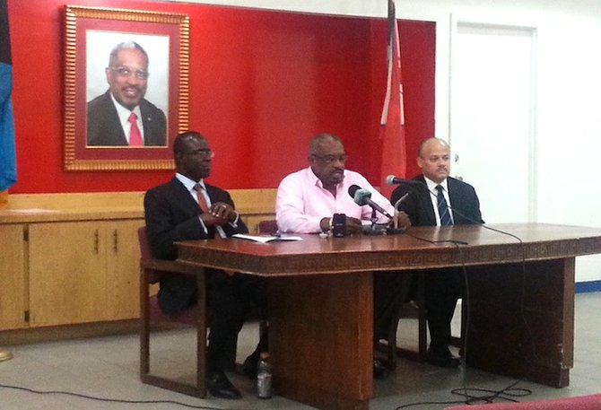 FROM LEFT: FNM chairman Darron Cash, Party Leader Dr Hubert Minnis and Michael Foulkes, Secretary General.