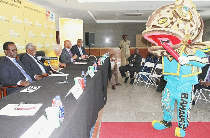 BREEZY - a Nassau Grouper - the official mascot of the Bahamas World Relays, made a special appearance at yesterday's press conference.