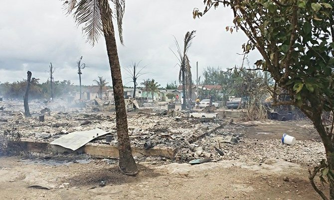 The scene of devastation at Sand Banks, Abaco.
