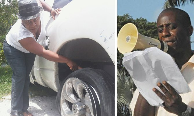 LEFT: Carolyn Lulse-Darling, the wife of Mervin Darling, points out the damage to the car tyre, which it is claimed was caused by police bullets. 