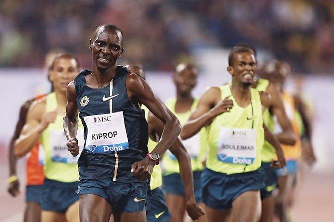 Asbel Kiprop of Kenya wins the 1,500m at the IAAF Diamond League in the Qatari capital Doha, Friday May 9, 2014. (AP Photo/Osama Faisal)