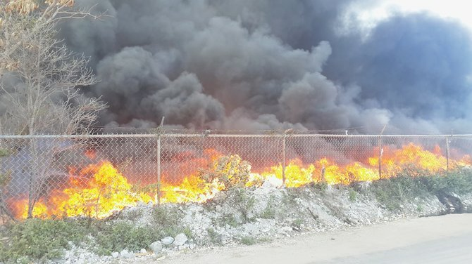 Pictured is one of the latest dump fires.