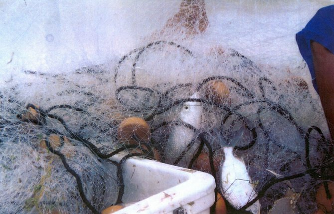 TANGLED WEB: A picture, taken by Long Island bonefishing visitors, that is said to show illegal netting in action.