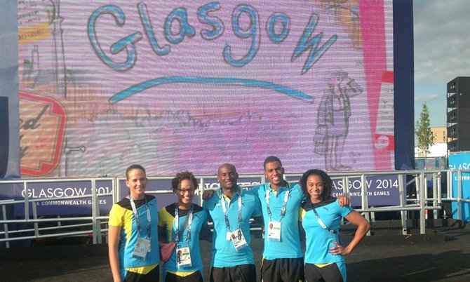 SWIMMERS (l-r) Joanna Evans, Ariel Weech, Elvis Burrows, Dustin Tynes and Arianna Vanderpool-Wallace.