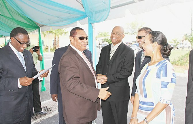Prime Minister Perry Christie and his wife Bernadette Christie arrive at the Agricultural and Industrial opening ceremony.