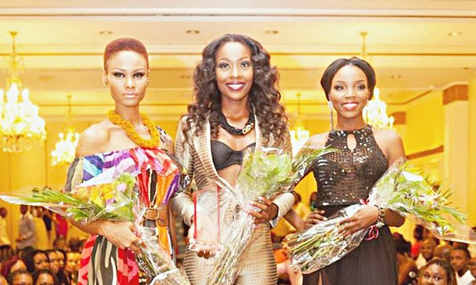 The top three: Top Model winner Tomii Culmer (centre) with first runner-up Ominique Burrows (left) and second runner-up Chantal O'Brien.  (Photos/Miss Bahamas Organisation)