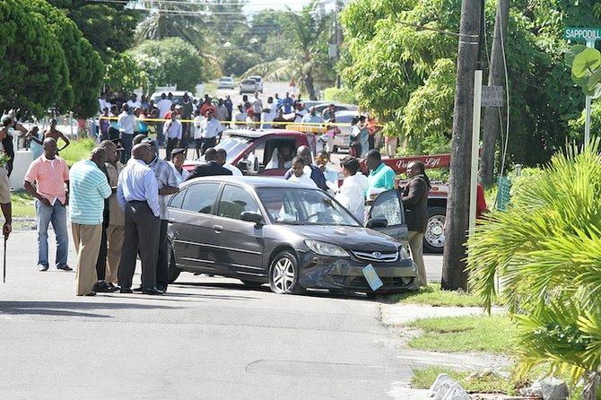 The scene of the shooting in Pinewood. Photo: Tim Clarke/Tribune staff