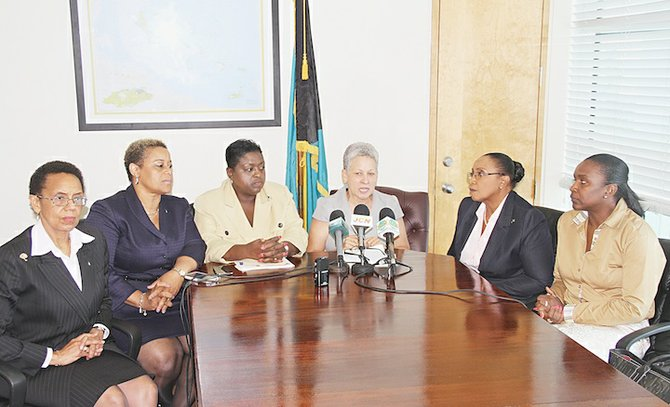Attorney General Allison Maynard-Gibson, Minister of State in the Ministry of Transport and Aviation Hope Strachan, Minister of Social Services Melanie Griffin, Minister of Transport and Aviation Glenys Hanna-Martin and Senator Cheryl Bazard yesterday.  Photo: Tim Clarke/Tribune Staff