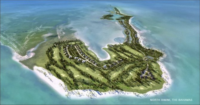 A view of the future?: A computer-generated aerial image on the Investhaus website used to promote Bimini as a paradise destination featuring what appears to be a golf course amid plush greenery and homes near water.