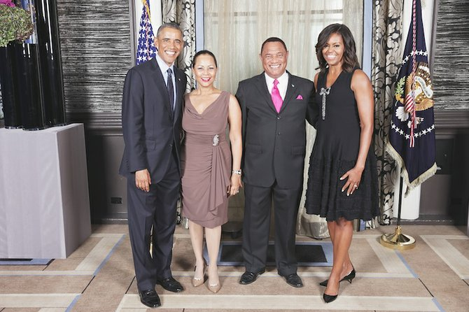 Prime Minister Perry Christie and his wife, Bernadette, are greeted by US President Barack Obama and Michelle Obama during the United Nations General Assembly reception at the Waldorf Astoria Hotel in New York on Tuesday.  Photo: Lawrence Jackson/White House
