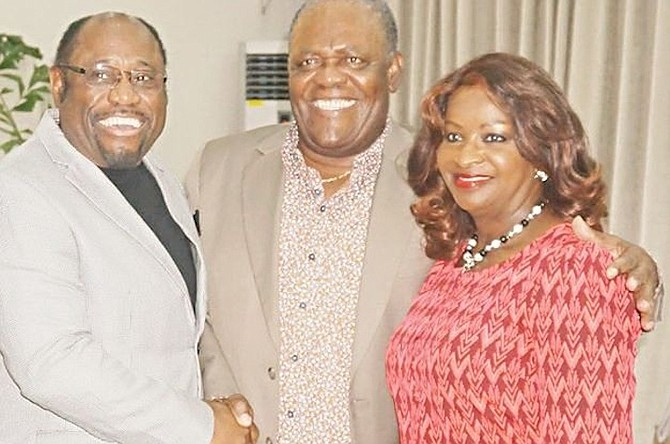 Dr Myles Munroe and his wife Ruth pictured earlier this year with former Prime Minister Hubert Ingraham.