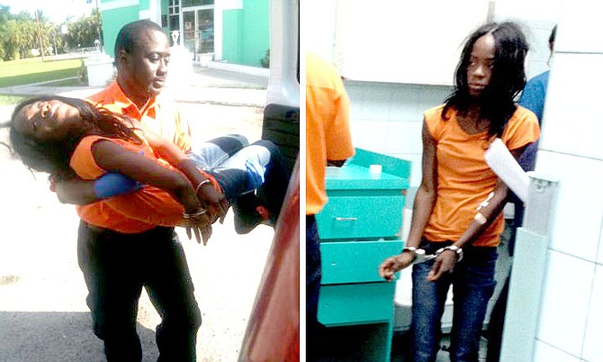 LEFT: Dahene Nonord being carried by a paramedic outside the Carmichael Road Police Station. RIGHT: Ms Nonord in handcuffs at PMH's Accident and Emergency.