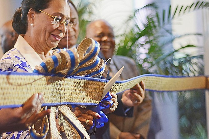 The ribbon cutting at the Critical Care Block by Governor General Dame Marguerite Pindling.