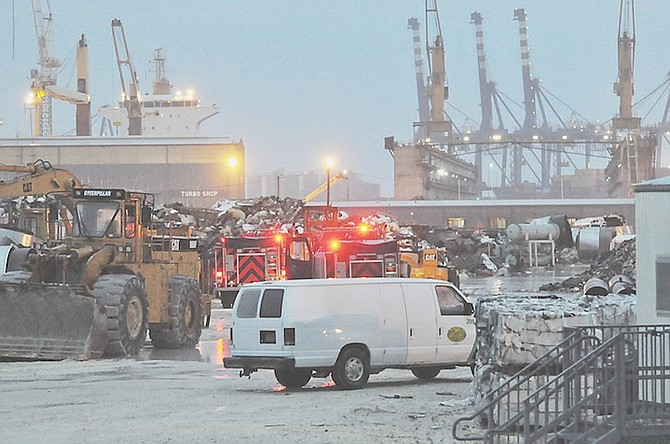 The scene of the crash at Grand Bahama shipyard.