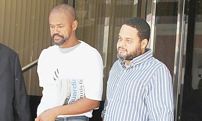 Murillo Sullivan, left, and Darryl Bartlett, outside court yesterday.