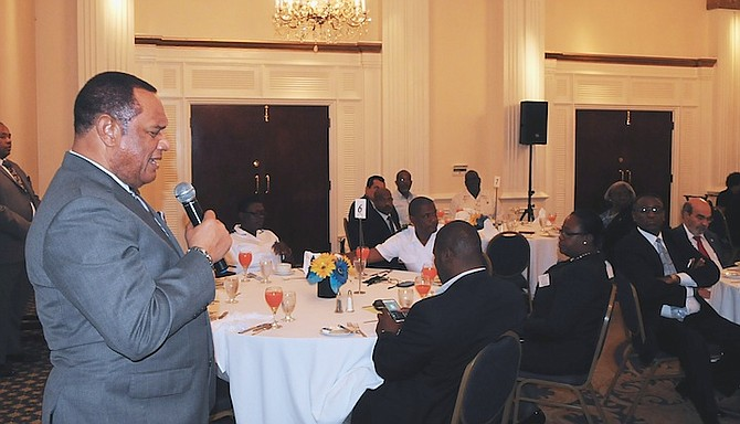 Prime Minister Perry Christie welcomes the Director General of the United Nations Food and Agriculture Organisation (FAO) and Caribbean Ministers of Agriculture yesterday at the British Colonial Hilton. Photo: Peter Ramsay/BIS