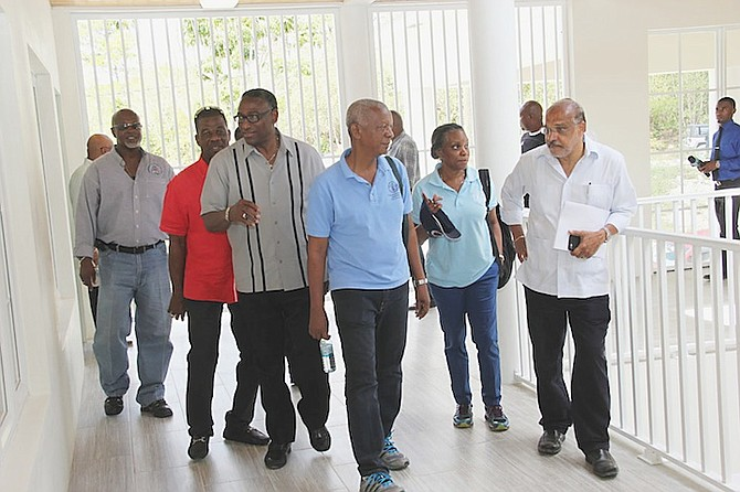 Minister of Agriculture, Marine Resources and Local Development V Alfred Gray tours BAMSI with Agriculture Ministers from the Caribbean Community last week.