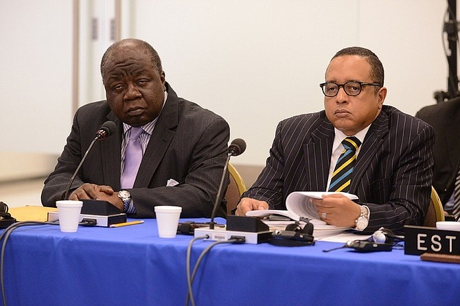 Bahamas Ambassador to the United States Elliston Rahming and State Minister of Legal Affairs Damian Gomez at the hearing.