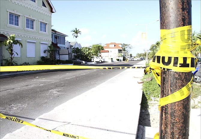 Police tape at a crime scene in 2015.