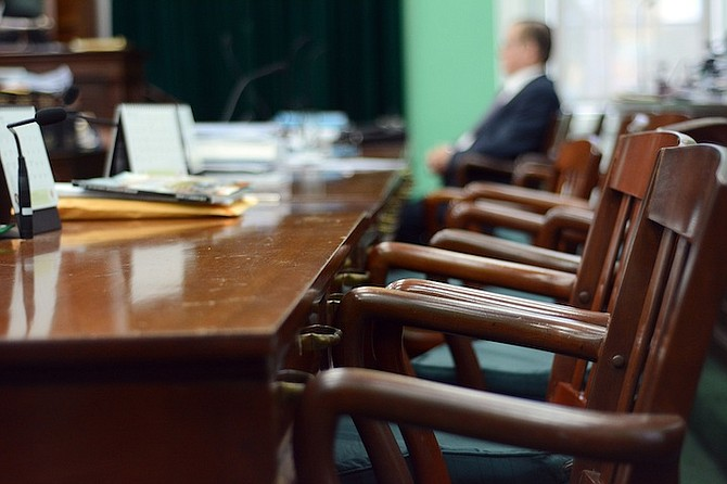 The empty seats of the Opposition in Parliament yesterday after FNM MPs were suspended following their continued protest against V Alfred Gray. Photo: Shawn Hanna/Tribune Staff