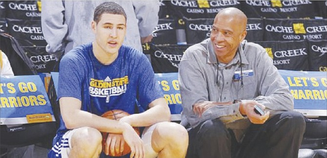 LIKE FATHER LIKE SON: NBA champions Mychal and Klay Thompson (left).