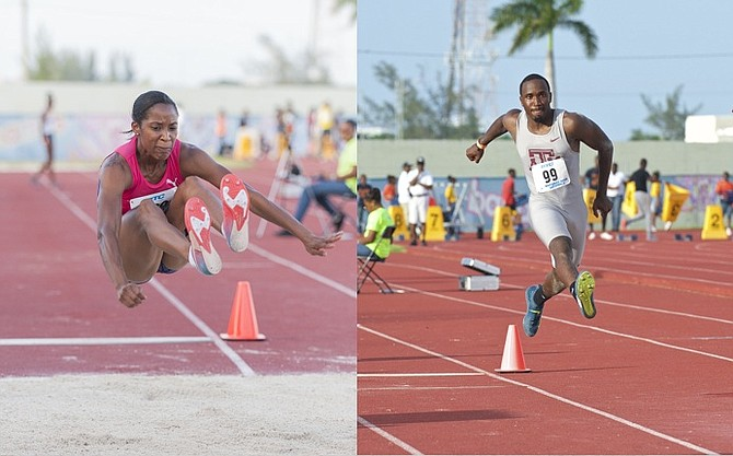 Bianca 'BB' Stuart and Latario 'Robin' Collie-Minns in action. Photos: Kermit Taylor/Bahamas Athletics.