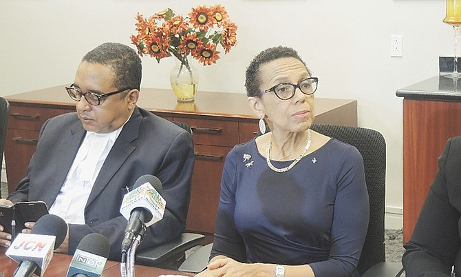 Allyson Maynard-Gibson and Damian Gomez at yesterday's press briefing. Photo: BIS