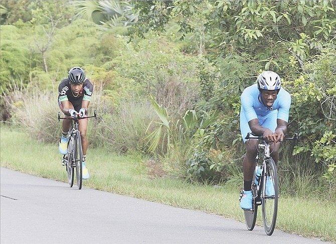 ON THE COURSE: Cyclists compete in the Bahamas Cycling Federation Time Trials on Saturday.