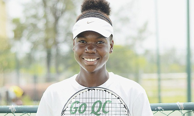 LAST GIRL STANDING: Iesha Shepherd opened the main draw play of the ITF junior circuit tournament yesterday with a hard fought come-from-behind 3-6, 7-5, 6-1 win over American Zoe Radojicic to remain the only Bahamian still standing at the National Tennis Centre. Photo by Shawn Hanna/Tribune Staff